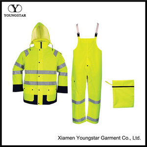 Packable Rain Gear Work Breathable Waterproof Oversuit with Reflective Tape